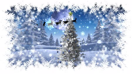 sob : Digital composite of Christmas snowflake border with Christmas tree in Winter landscape with Santa flying
