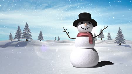 kardan adam : Digital composite of Snowman with Christmas Winter landscape Stok Video