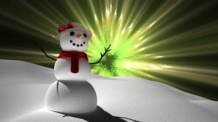 seasons changing : Digital composite of Snowman with magical lights