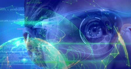 touching screen : Digital composite of Science Composition sci0918jf_vid Woman with virtual glasses and abstract illustration colored in green and blue Stock Footage