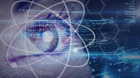 atomic model : Digital composite of Science Composition Animated eye with coded text combined with abstract illustrations colored in blue Stock Footage