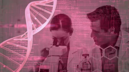 прядь : Digital composite of Science Composition Animated DNA with coded text combined with a photo of scientists colored in pink