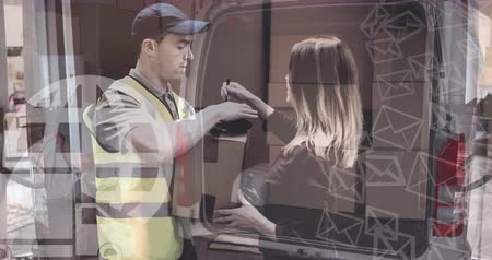 paket : Digital composite of Warehouse Composition Man packing parcels into a van combined with parcel delivery