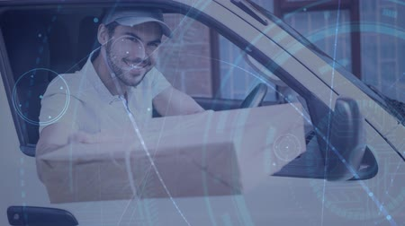 курьер : Digital composite of Warehouse Composition Delivery Man in a van combined with animation of connection