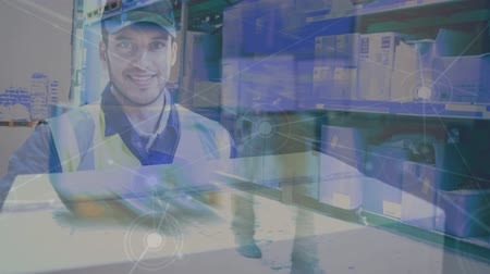 vest : Digital composite of Warehouse Composition of Picture of delivery man and picture of a warehouse combined with animation of connection