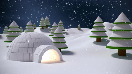 igloo : Digital composite of Igloo in winter scenery and falling snow