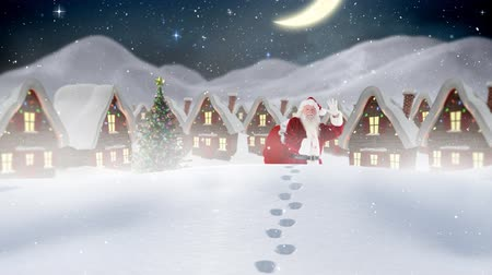 Санта : Digital composite of Santa clause in front of decorated houses in winter scenery combined with falling snow