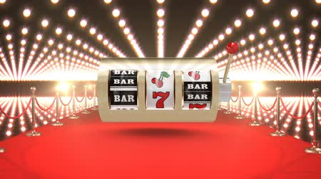 celebrities : Digital composite of Slot machine casino with flashing lights and red carpet