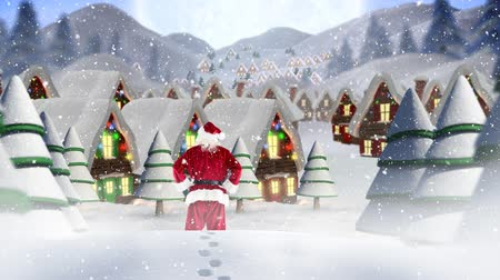 snowy background : Digital composite of Santa clause in front of decorated houses combined with falling snow