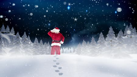 çuval : Digital composite of Santa clause wandering through snowscape combined with falling snow Stok Video