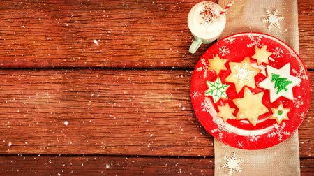 szalvéta : Digital composite of Falling snow with Christmas food