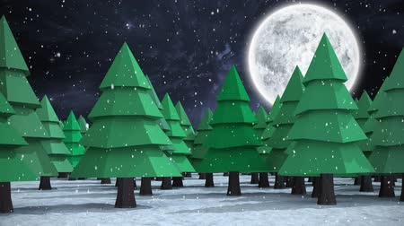 full moon : Digital composite of Winter scenery with full moon and falling snow