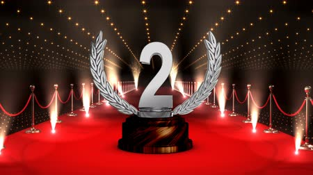 laur : Digital composite of Second position trophy with flashing lights and red carpet Wideo