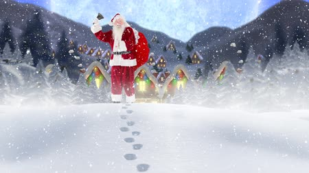 çuval : Digital composite of Santa clause in front of decorated houses in winter scenery combined with falling snow