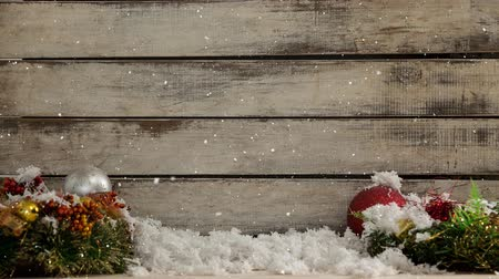 falsificação : Digital composite of Falling snow with Christmas wood decorations
