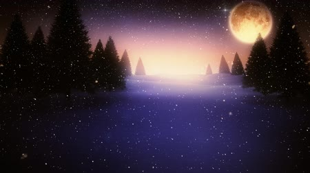 full moon : Digital composite of Falling snow and Christmas night starry sky and moon Stock Footage