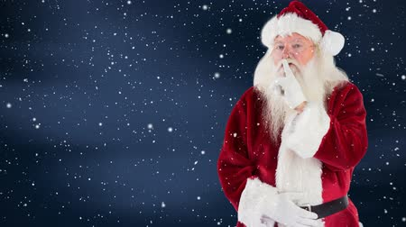 hava durumu : Digital composite of Santa clause combined with falling snow Stok Video