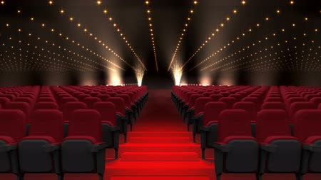 absence : Digital composite of Cinema seats auditorium with flashing lights Stock Footage