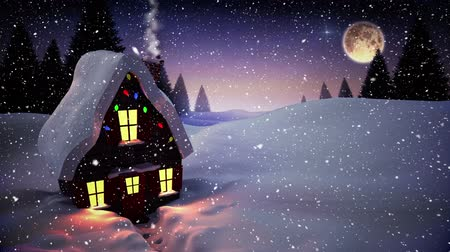 image house : Digital composite of Video composition with falling snow over  winter scene with house at night