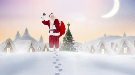 ślady stóp : Digital composite of Santa clause ringing a bell in winter scenery combined with falling snow