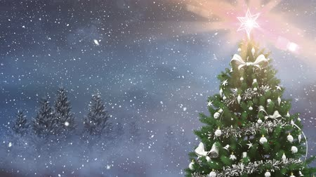 cicili bicili : Digital composite of Christmas tree in winter scenery and falling snow