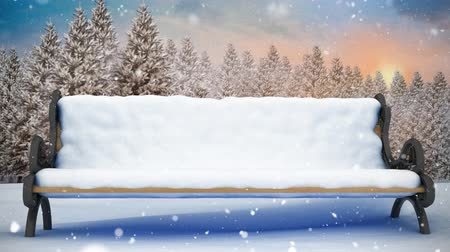 yokluk : Digital composite of Bench in winter scenery and falling snow