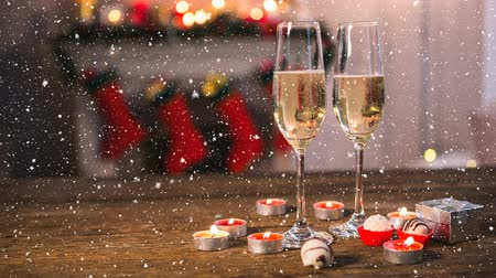 champagne flute : Digital composite of Falling snow with Christmas champagne
