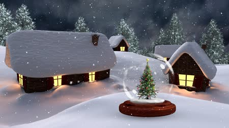 kardan adam : Christmas animation of illuminated huts and Christmas tree in magical forest at night. Snow falling over the snow covered landscape, trees and huts 4k
