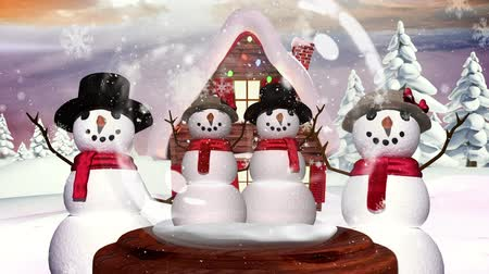 snow globe : Cute Christmas animation of snowman family in magical forest. Snow is falling over the forest in background 4k