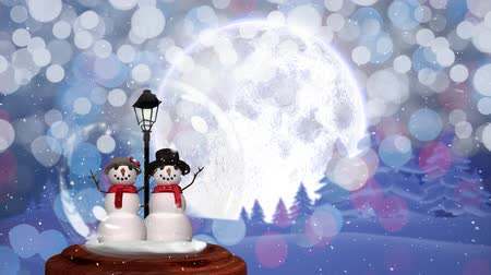 sněhulák : Cute Christmas animation of snowman couple in magical forest. Snow is falling over glittering purple background 4k