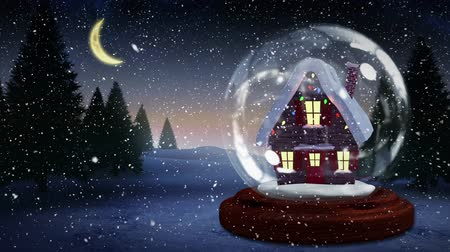 kulübe : Cute Christmas animation of illuminated hut. Snow falling over the snow covered landscape, trees 4k