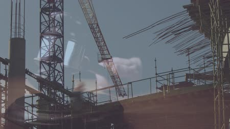 судья : Digital animation of buildings under construction. Judges gavel banging on the block against the construction site 4k