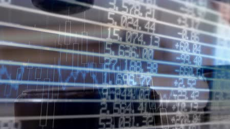 attorney : Conceptual digital animation of a business graph against the financial figures on the screen. Judge banging the gavel on the block 4k Stock Footage