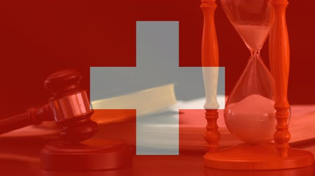 gabela : Digital animation of Switzerland flag. Judge banging gavel on sounding block 4k