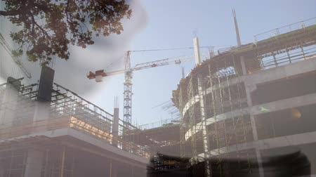 veredito : Digital animation of buildings under construction. Judges gavel banging on the block against the construction site 4k