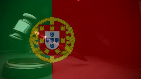 gabela : Digital animation of Portugal flag. Gavel banging on sounding block 4k