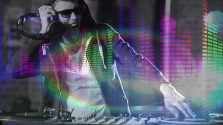 soundtrack : Digital animation showing smiling disco jockey mixing music in pub. Graphic equalizer in background 4k Stock Footage