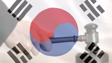 adli : Digitally animation of South Korea Flag and gavel. Judges gavel banging against the flag 4k