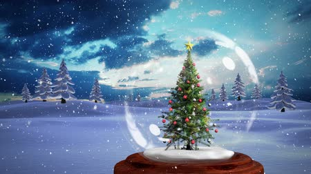 snow globe : Christmas animation of decorative Christmas tree in snow globe in magical forest. Snow falling over the pine trees and snow covered landscape 4k Stock Footage