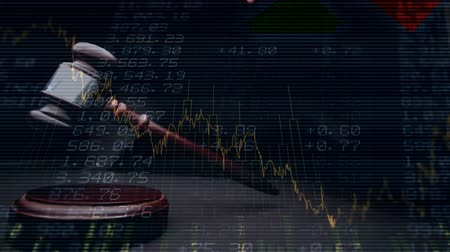 законодательство : Conceptual digital animation of a business graph against the financial figures on the screen. Judges gavel banging on the block 4k