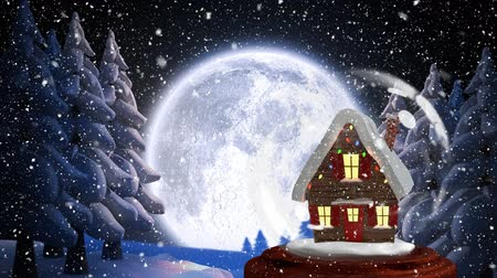 snow globe : Christmas animation of Christmas house in forest. Snow is falling in moonlight 4k