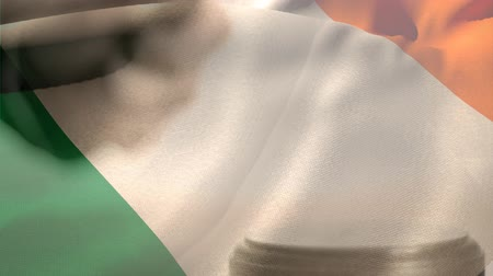 adli : Digitally animation of Irish Flag and gavel. Judges gavel banging against the flag 4k Stok Video