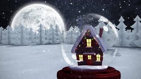 holdfény : Christmas animation of hut in forest. Snow is falling in moonlight 4k Stock mozgókép