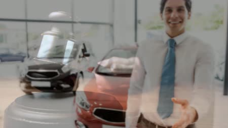 adli : Digital animation of sales executive gesturing in car showroom. Gavel banging on sounding block 4k Stok Video