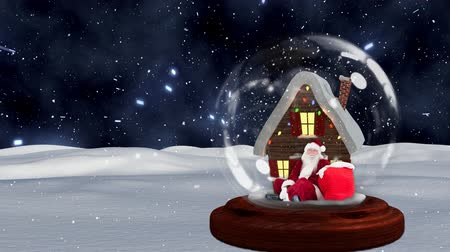 snow globe : Cute Christmas animation of hut and Santa Claus in snow globe. Snow falling over the snow covered landscape