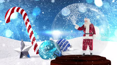 snow globe : Cute Christmas animation of santa claus in snow globe. Snowflake falling against bokeh background 4k