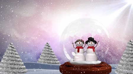 kardan adam : Cute Christmas animation of snowman couple in magical forest. Snow falling over the snow landscape 4k