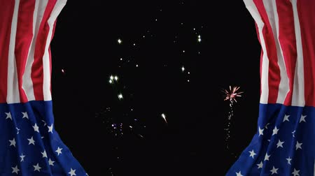 firework display : Digital animation of fireworks on the skyline at night. American flag as curtains 4k