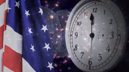 kraker : Digital animation of United States flag and wall clock. Fireworks in background 4k Stok Video