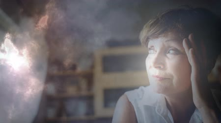 computer problem : Digital animation of worried woman. Lightning and cloud moving in background 4k Stock Footage